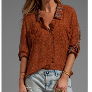 FREE PEOPLE Easy Rider Button Down in Rust Combo